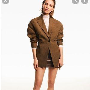 Zara ruched linen blazer bloggers fav